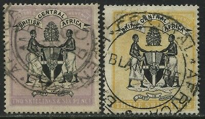 British Central Africa 1895 2/6d & 3/ high values revenue used