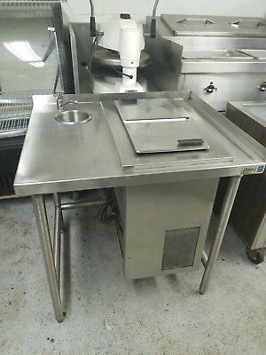 Randell Stainless Steel Ice Cream Dipping Cabinet with Dipperwell & Table