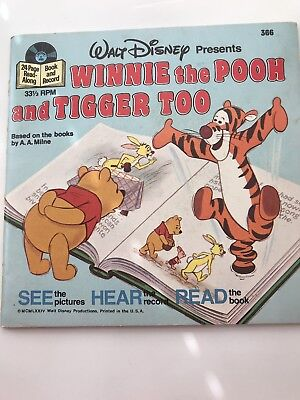 """Winnie The Pooh And Tigger Too Vinyl 7"""" Record Book And Record #366 1977"""