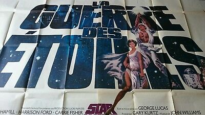 Star Wars Original 1977 french 2 panel 63x93 inch Poster Rare