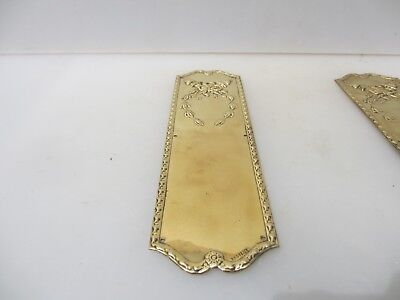 Edwardian Brass Finger Plates Push Door Handle Antique Old Torch Wreath Bow 1910