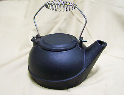 Antique or antique style Black Cast Iron Tea Pot Kettle 10""