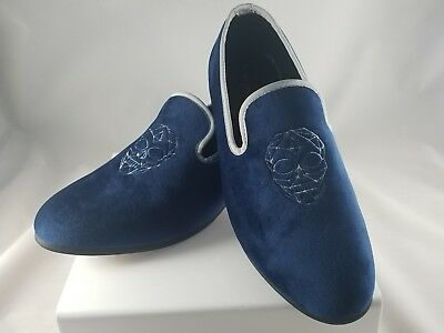 993c9c90b4882 MEN'S SLIP ON Loafers Navy Blue Velvet with Silver Skull - $19.99 ...
