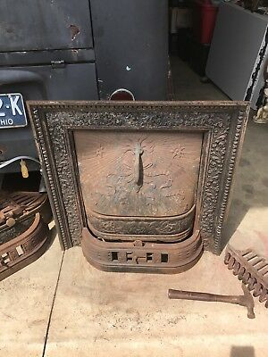 Pair Of Antique Victorian Ornate Fireplace Surround W Insert and Summer Cover