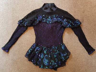 HM-Ice Black Flamenco Sequin Ice Skating Competition Dress Girls Size 8-10 Years