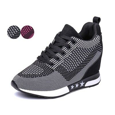 Women Fashion Sneakers Walking Trainers Hidden Heel Sports Shoes High Top Wedges