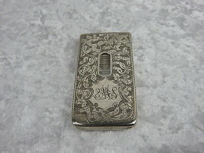 Antique Silver Card Case - Edwardian With Extensive Engraved Decoration - 1902