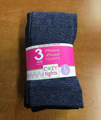 NEW Cozy Tights Girls Footless Fleece Lined Tights 3 Pairs- Navy/Black/Purple- L