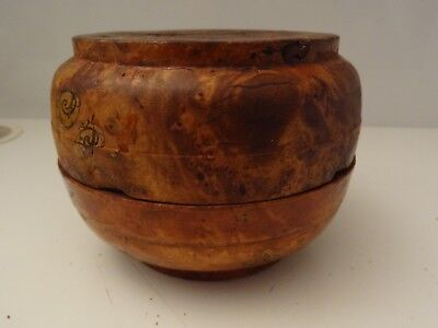 Vintage  Chinese Manchu Traditional Root Bowl With Cover