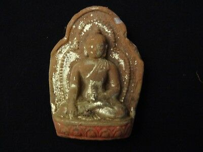 Antique  Tibet-Mongolian Buddhist Gilted Clay Tsa Tsa Of A Buddha