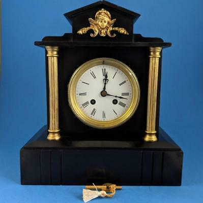 Perfect 19th French black slate & marble Japy Freres striking Mantel Clock