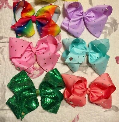 Lot of 6 JoJo Siwa LARGE Bows (with clips) for Girls - NWOT