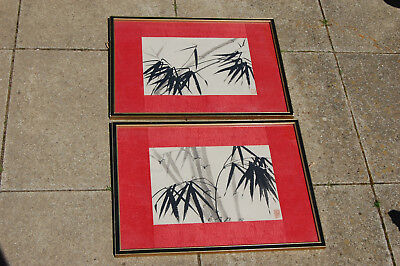 Vintage Japanese Watercolour Paintings Bamboo