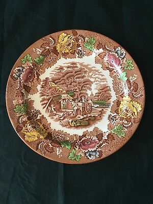 """Enoch Woods English Scenery Wood & Sons England 10"""" plate brown"""