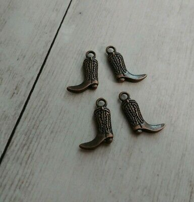 20 Cowboy Boot Charms Horseshoe Western Cowgirl Shoe Charm Antique Silver 12x16
