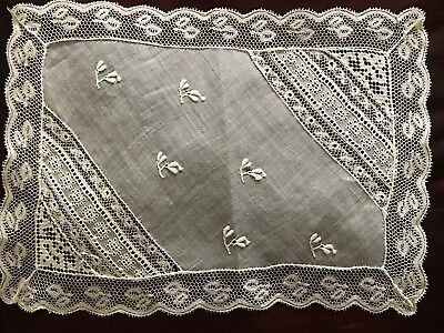 """Antique Normandy Lace Doily 10 1/4"""" By 7""""  - Handmade"""