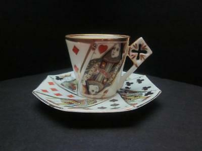 Antique Porcelain Demitasse Cup & Saucer, Playing Card Suits, King, Queen, Jacks
