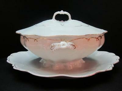 Antique MZ Austria Lidded Sauce Tureen & Fast Stand, White w Gold Trim, Exc Cond