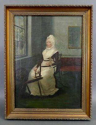 Antique 19th Century OLD PURITAN WOMAN Spinning Wheel Oil Painting American Fine