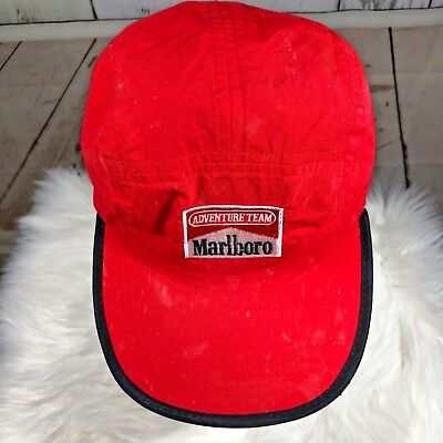 32d6b3c0c17 Marlboro Adventure Team Mens Cap Hat Red with Yellow Strap Back Nylon NWOT  Flaws