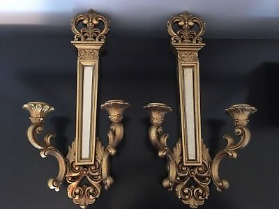 Syroco Hollywood Regency 1969 Pair Gold Double Wall Candle Sconces Style 4061
