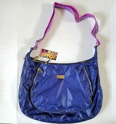 NEW WITH TAGS Zumba Peek A Boo Cross Body Bag Blue Adjustable Strap