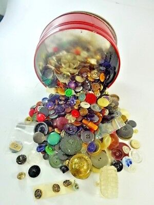 ATQ VTG Button LOT Collectible Ornate Glass METAL Sets Pairs - Almost 2 Pounds