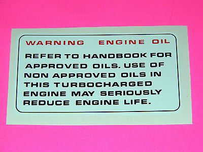 range rover classic  engine oil decal vm 2.4and 2.5 td