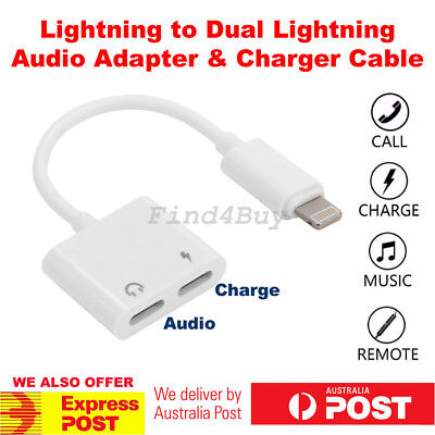 Dual Lightning Splitter Headphone Audio Adapter Charge Cable iPhone X XR XS Max