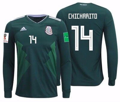 116340503ad Adidas Chicharito Mexico Long Sleeve Home Jersey World Cup 2018 Patches.