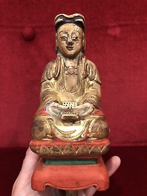 Antique Chinese Carved Gilt Wood Buddha Quan Kwan Yin Figure