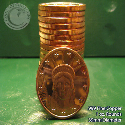 """20 """"Statue of LIberty"""" 1oz .999 Copper 20 beautiful rounds 1 Roll Plastic Tube"""