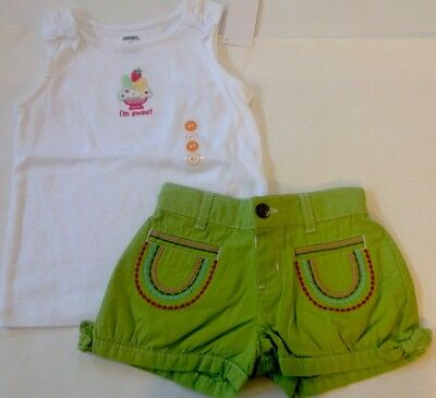 NWT GYMBOREE 2pc OUTFIT SUMMER White SWEET Tank Top/Green Shorts Girl 4/4T