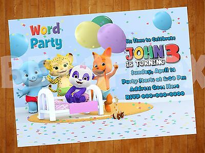 Word Party Digital Invitation Personalized Printable Birthday