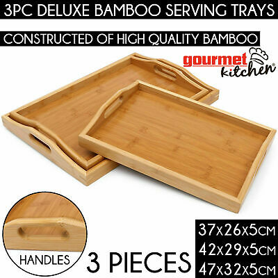 3PC QUALITY BAMBOO BED TRAY SET Nesting Food Breakfast Dinner Lap Serving Table