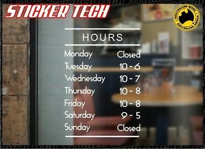 Opening Trading Shop Business Hours Window Door Sticker Decal Sign Custom Times.