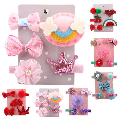 5Pcs Newborn Infant Baby Girls Hairpin Cartoon animal motifs Hair Clip Set