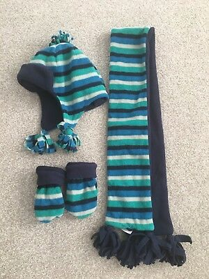 Mothercare Blue & Green Winter Hat, Scarf, Mittens Set, 1-3 Years