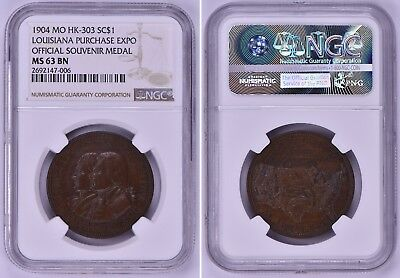 1904 Ngc Medal Token St Louis Worlds Fair Louisiana Purchase Exposition Hk-303