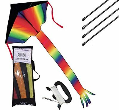 Rainbow Delta Kite Easy Flying with Tail Flyer Line and Handle with Carrying Bag