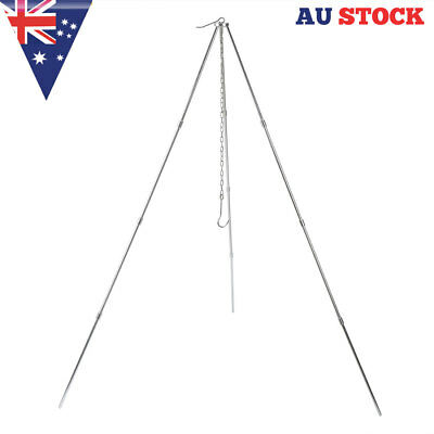 3/4 sections Stainless Steel BBQ Tripod Camp Fire Stand Picnic Cook Hanger Out