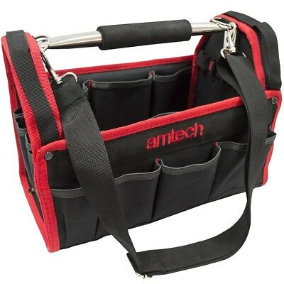 """13"""" Heavy Duty Carry Case Tool Caddy Bag Tote Box Holdall 19 Pocket Holders"""