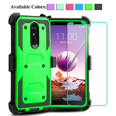 For LG Stylo 4/4 Plus Shockproof Phone Case With Kickstand Clip+Screen Protector