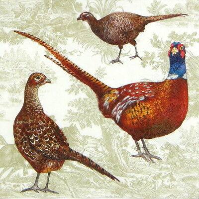 4x Paper Napkins for Decoupage Decopatch Craft Pheasant Scene