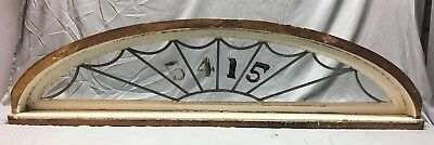 Antique Leaded 17 Lite Arched Dome Top Transom Window With Frame 16x61 215-18E