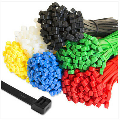 100 x Cable Ties Tie Wraps Nylon Zip Ties Strong Extra Long All Sizes & Colours