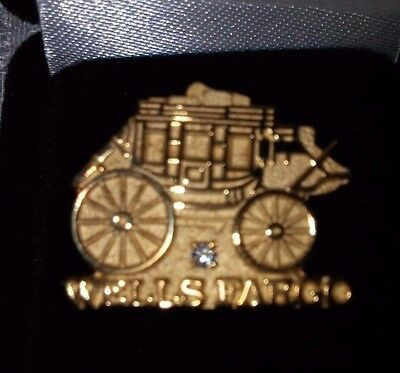 Wells Fargo Bank National Award Recognition Pin Gold Over Silver, Diamond, Wagon