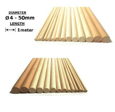 Oak or Beech Wood Dowels Smooth Rod Pegs - 1m length, 4 - 50mm diameter