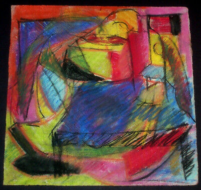 Abstract Modern Oil Pastel Painting Empty Alcohol Bottle