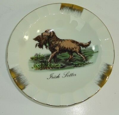 Vintage Duck Hunting Irish Setter Dog w/ Water Fowl Ceramic Ashtray UCGC Japan